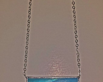 Blue Stained Glass Bar Necklace