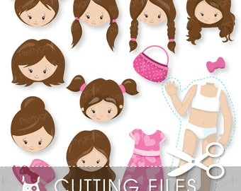 Girl faces paper doll cutting files, svg, dxf, pdf, eps included - character cutting files for cricut and cameo - Cutting Files SVG - CT867