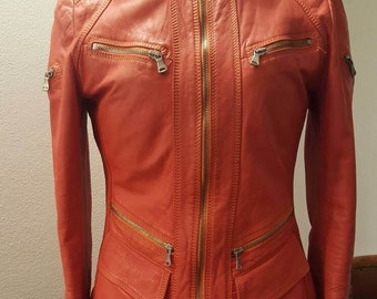 Red leather JACKET sz. 42