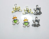 Green Frog Charm Jewelry Supply Craft Supply Assorted Pendants Jewelry Finding Enamel Charms