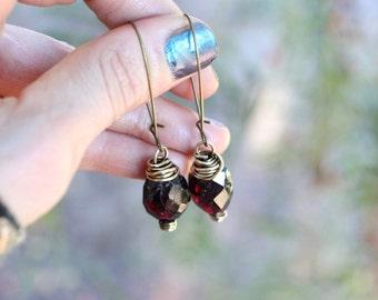 Raw Garnet Earrings Garnet Dangle Earrings Raw Gemstone Earrings Crystal Dangle Earrings Boho Earrings Boho Jewelry Bohemian Drop Earrings