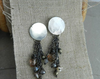 Recycled Sterling Faceted Rutile, Golden Pyrite, Labradorite Gemstone, Pearl & Chain Earrings
