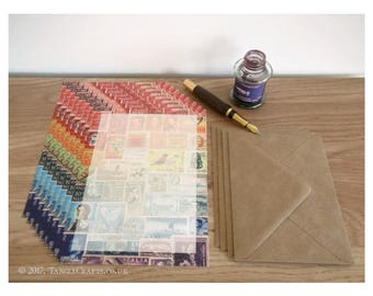 Rainbow Writing Paper Set - A5 Notepaper, Postage Stamp Art Design