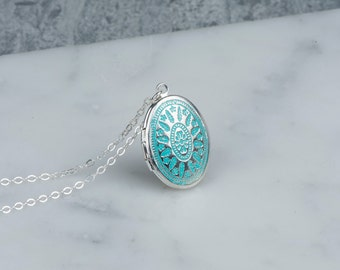 Small Blue Locket Pendant Gift, Sterling Silver Chain Locket, Aqua Blue Oval Pendant, Small Oval Locket