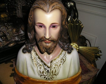 Vintage Divine Bust Jesus Christ w/Risa,Crown,Glass Eyes.European Spanish Religious Church Icon.