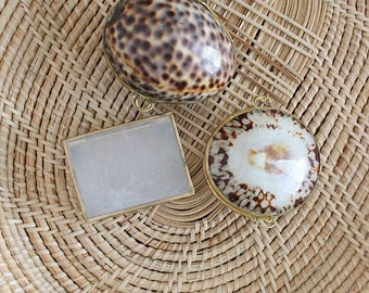Vintage Trio Of Shell Trinket Boxes