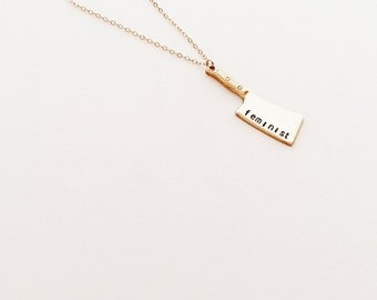 Feminist Necklace // 14kt Gold Chain Necklace // Butcher Knife Necklace // Feminism // Strength Necklace // Women's Rights // Equality