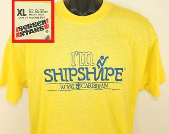 Royal Caribbean cruises vintage t-shirt L yellow 80s Screen Stars soft thin I'm Shipshape