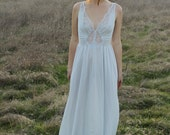 CHARMED Vintage 1970's Olga Slip Dress Lace Night Gown Lingerie Pale Blue Maxi Length Intimates Layering Large