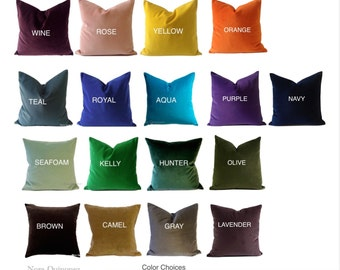 Decorative Velvet Pillow Cover- Available in 17 COLOR- Medium Weight Cotton Velvet- Invisible Zipper Closure- Knife Or Piping Edge