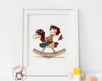 Rocking Horse -  Fine Art Print - nursery - baby boy's room - child decor - wall art - boy's room - adorable toy boy cowboy illustration