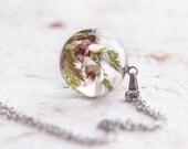 Heather necklace - Lucky heather sprig flowers charm - Evergreen plant Lucky Scotland Jewelry