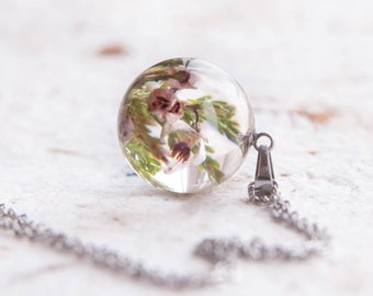 Heather necklace - Lucky heather sprig flowers charm - Evergreen plant Lucky Scotland Jewelry