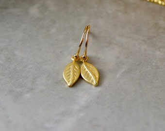 Gold Leaf Earrings, Tiny Gold Earrings, Vermeil Earrings, Gold Leaf Jewelry, Wife Gift, Golden Wedding Anniversary, Brushed Gold Earrings UK