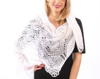 Lace shawl, white triangular shawl, warm, soft hand knit from mohair thread