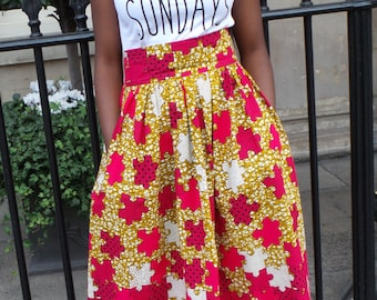 TAIDA Maxi Skirt in Hot Pink Jigsaw Puzzle Inspired African Print by Afrocentric805