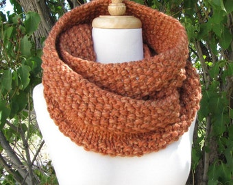 Tweedy Orange Infinity Scarf - Tangerine Tonal Wool Cowl - Soft Chunky Knit Scarf - Warm Orange Infinity Scarf - Gift for Her
