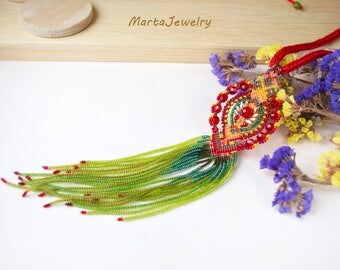 Fringe necklace, micro-macrame jewelry, colorful, bright, glass, beaded, bohemian, boho chic, green red orange yellow, unique, long, autumn