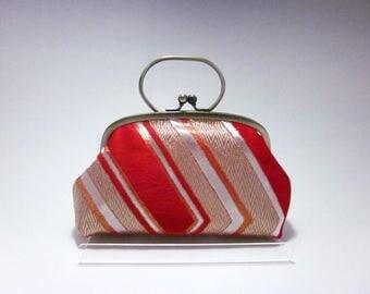 Red Clutch/ Gold stripe/ Vintage kimono bag/ Antique Gold purse frame/hand made