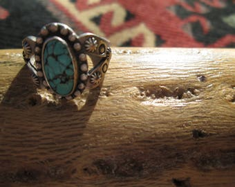 Native American Spiderweb Turquoise and Stamped Sterling Silver Ring Size 6