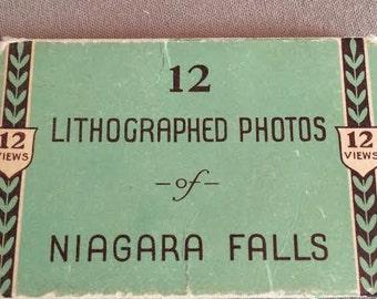 Niagara Falls, Lithographed Photos, Vintage Photos, Photo Mail Ephemera, Black and White Photos
