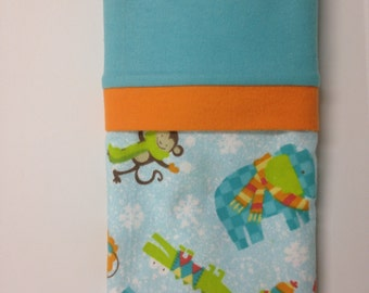 """Travel/Toddler Flannel Pillowcase - """"Winter in the Jungle"""""""