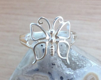 Butterfly Ring Sterling Silver FREE Gift Box FREE Shipping Insect Bug Jewelry Silver Butterfly Ring Jewelry with Butterflies  Nature Gift