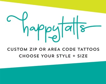 custom zip code tattoos temporary tattoo fake tattoo hometown local pride personalized area code valentines day gift for her gift for him