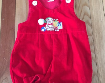 Vintage 1980s Baby Infant Boys Red Velvet   Teddy Bear Christmas Holiday Outfit Romper! Size 6-12 months
