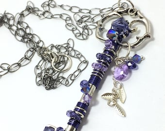 Purple Necklace ~ Skeleton Key Necklace ~ Wire Wrapped Key Necklace ~ Feather Charm ~ Purple Key Necklace ~ Blue Purple Crystal Necklace