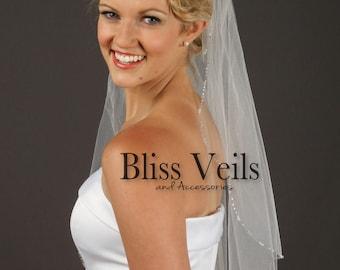 Beaded Veil, Crystal Beaded Edge, Ivory Veil with Crystals, Rhinestone Veils, Wedding Veil with Crystals,  Fast Shipping!
