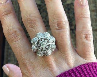 18K White Gold Vintage Edwardian Art Nouveau Diamond Floral Flower Cluster Ring