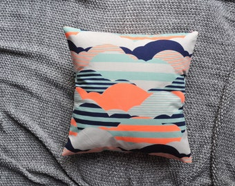 Clouds Cushion Cover, Throw Pillow Cover, Throw Cushion Cover, Decorative Cushion Cover, Decorative Pillow Cover - Geometric Navy & Orange