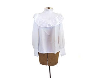 Vintage Ruffle Blouse White Ruffle Shirt Victorian Shirt Steampunk Shirt Beethoven Shirt Edwardian Blouse Bib Shirt White Sheer Blouse