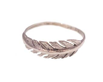 White Gold Feather Ring - Feather Ring - White Gold Ring - 14k White Gold Ring - solid White Gold - White Gold Jewelry -Gold Dainty Ring