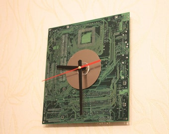 Wall clock - Recycled Computer motherboard clock - Geeky Wall clock - Green clock