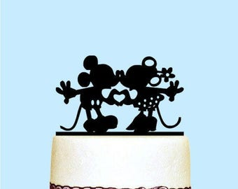 Mickey and Minnie Cake Topper, Disney Cake Topper, Mickey and Minnie Kissing Cake Topper for Wedding Decoration, Custom Rustic Cake Topper