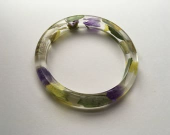 Floral Resin Bangle With Real Flowers - Yellow & Purple