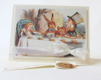 Alice in Wonderland Birthday Greeting Card / A Very Merry UnBirthday To You / Vintage UnBirthday Tea Party / Dimensional Greeting Card