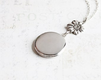 Round Silver Locket Necklace with Flower on Silver Plated Chain