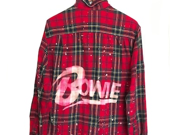 David Bowie Shirt in Red Plaid Flannel.  Green dyed bleached ooak acid wash 80s pop glam rock music icon culture stardust rock n roll