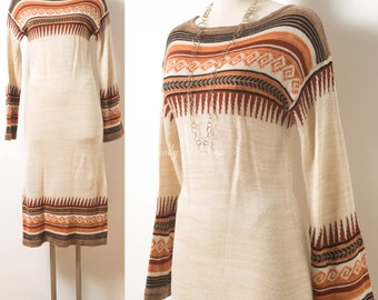 Vintage 70s Dress, 70s Bohemian Dress, boho dress, 70s Sweater Dress, Vintage ivory dress, 70s hippie dress,vintage sweater dress - S/M