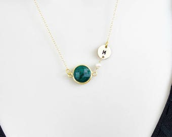 Emerald Necklace, Birthstone Necklace, Initial Necklace, Personalized Necklace, Dainty Necklace,Gold Necklace,May Birthstone,Initial Jewelry