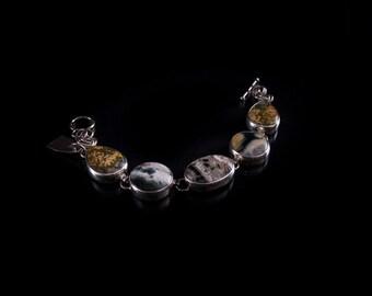 Ocean Jasper and Sterling  Link Bracelet