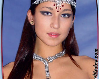 Amira Dancer Chainmaille Headband, Chainmail bellydance head piece, Costume wear for belly dancers