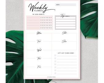 Weekly Panner Printable | Week On One Page | Minimalistic Weekly Planner | A4 Weekly Planner Insert | Weekly Agenda | US Letter Planner Page