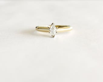 Diamond Engagement Ring .32ct, Vintage Diamond Solitaire Ring, Marquise Engagement Rings