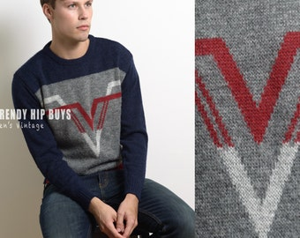 Vintage Sweater, Vintage Blue Sweater, Vintage men's sweater, 80s sweater, color block sweater, Hipster Sweater, multicolor sweater - M/L
