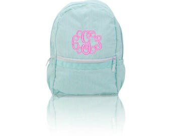 Aqua/Mint Seersucker Backpacks-Monogrammed/Personalized -  Baby Gift - Kids Love These for School, Vacation