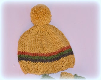Hand knitted hat 0-8 years retro 1970's style beanie made to order photo prop spring summer fall winter Waldorf toddler boy girl